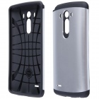 Simple Protective PC + Silicone Back Case for LG G3 - Silver + Black