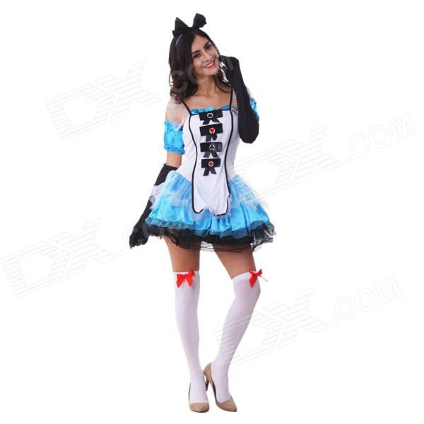 Halloween Cosplay Alice Style Sexy Costume Uniform - White + Blue (M) halloween cosplay maid girls dress carnival party skeleton pattern role pirate costume princess dress black with gloves