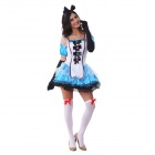 Halloween Cosplay Alice Style Sexy Costume Uniform - White + Blue (M)