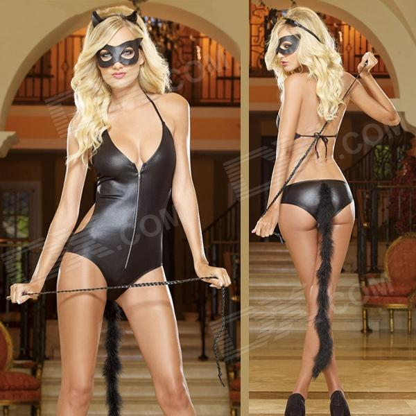 Sexy Tempting Cat Woman Style Patent Leather Lingerie for Halloween Party - Black (M)