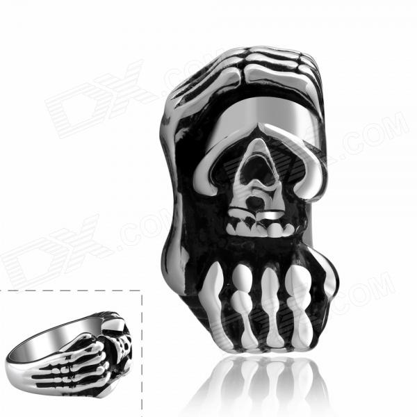 Cool Titanium Steel Skull Head Style Ring - Black + Silver (U.S Size 9) cool punk skull style stainless steel ring silver u s size 9