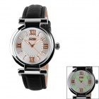 SKMEI 9075 Women's Split Leather Strap Analog Quartz Watch w/ Glow-in-the-dark Hands - Black + White