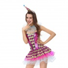 Tempting Circus Clown Role Play Lingerie for Halloween Party - Purple + Green