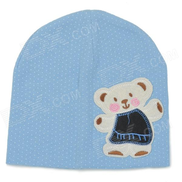 Fashion Four Seasons Soft Cotton Hat for 0~3 Years Old Children - Blue + White ol style women s round collar argyle long sleeve faux twinset dress