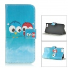 Protective PU + PC Case for IPHONE 5 / 5S - Blue + Red