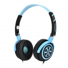 DICSONG DJ-980 Folding Headband Headphones - Black + Light Blue (3.5mm Plug / 1.6m)