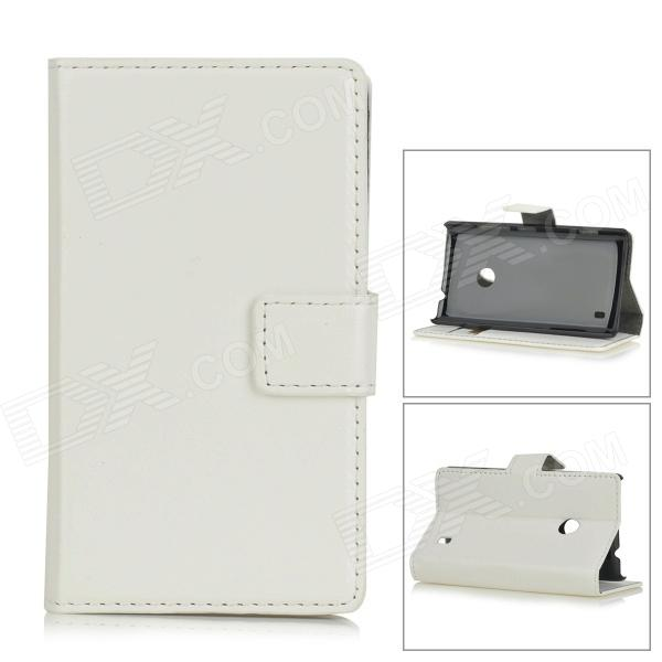 Protective PU Leather Case for Nokia Lumia 520 - WhiteLeather Cases<br>Form ColorWhiteBrandN/AModelA-520MaterialPUQuantity1 DX.PCM.Model.AttributeModel.UnitShade Of ColorWhiteCompatible ModelsNokia Lumia 520Other FeaturesProtects your device from dust, scratches and shock.Packing List1 x Case<br>