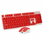 Fashion Cool 2.4GHz Wireless Water Resistant Gaming Keyboard + Mouse Set - Red + White