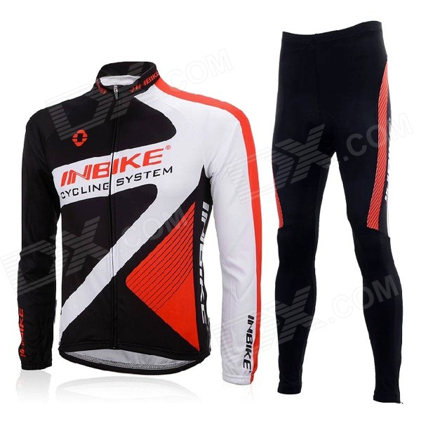 INBIKE CHY-THR Men's Cycling Long Jersey Top + Padded Pants Set - White + Black + Multi-colored (XL) arsuxeo ar14 a men s cycling breathable warm long jersey top padded pants set black blue xl