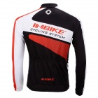 INBIKEIA387-TMen'sCyclingLongJerseyTop+PaddedPantsSet-White+Black+Multi-colored(XL)