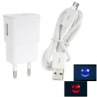 Universal 2000mA AC EU Plug Power Adapter w/ LED + Micro 5-Pin Charging/Data Cable (100~240V / 90cm)