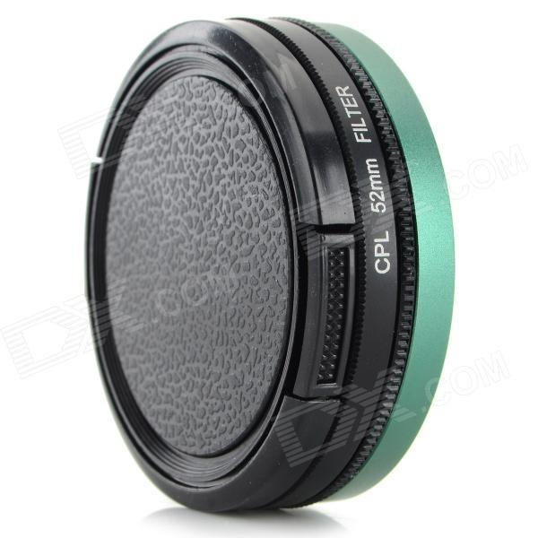 52mm CPL Lens + Adapter Ring + Lens Cover Set for GoPro HD Hero 3 / 3+ - Black + Green