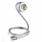 MLSLED Flexible USB 0.1W 8lm 6500K Cool White LED Stainless Steel Book Light / Reading Lamp - Silver