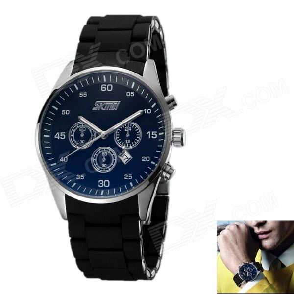 SKMEI Men's Stainless Steel Band Analog + Digital Display Quartz Watch - Black + Blue (1 x 626) skmei blue led watch with round dial silicon watch band