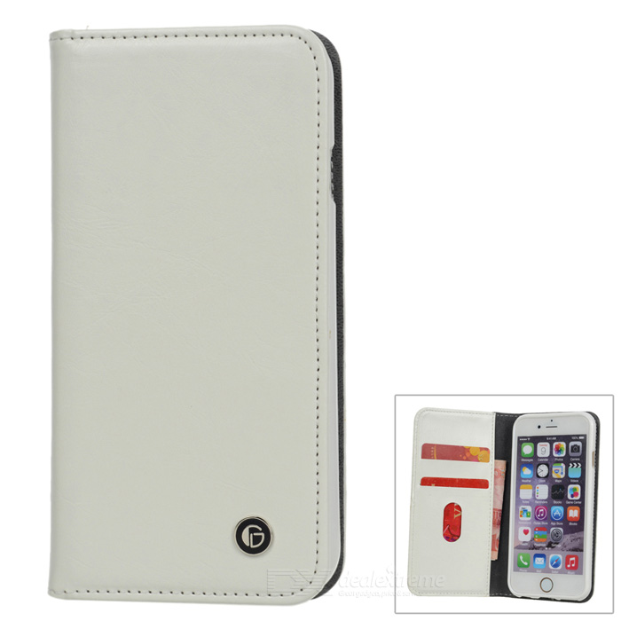 Protective Flip-open PU Leather Case w/ Holder for 4.7 IPHONE 6 - White protective pu leather flip open case for iphone 4 4s deep pink