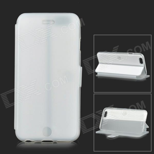 Protective Flip-open PU + TPU Case w/ Holder for 4.7 IPHONE 6 - White + Translucent protective silicone case for nds lite translucent white