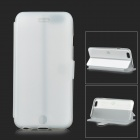"Protective Flip-open PU + TPU Case w/ Holder for 4.7"" IPHONE 6 - White + Translucent"