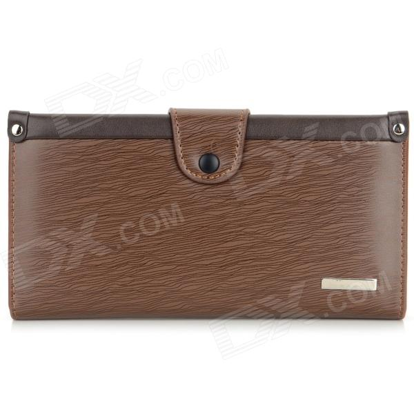 LX-MQB71 Tree Bark Pattern PU Long Wallet w/ Snap Button for Men - Deep Coffee