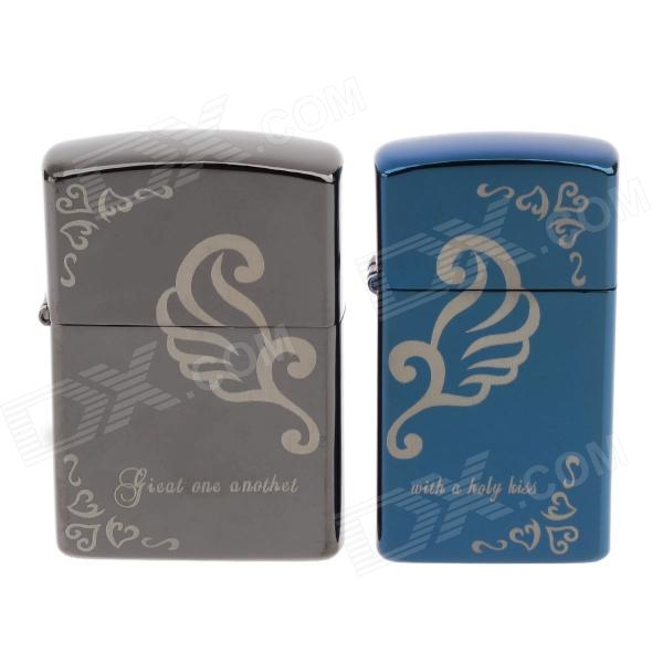 JIN JIAN 4846 Stylish Lover's Oil Lighters - Tarnish + Blue (2 PCS)
