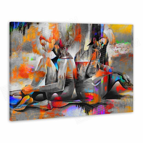 Iarts AHA072910 Canvas + Propylene Hand Painted Back-to-back Naked Women Oil Painting - Multicolored
