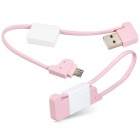 Key Chain Style Micro USB to USB Data Cable for Samsung / HTC - Pink (10cm)