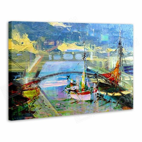 Iarts AHA072925 Canvas + Propylene Hand Painted Sailing Ship of Venice Oil Painting - Multicolored