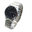 MIKE Men's Business Casual Style Steel Band Analog Quartz Wrist Watch - Black + Silver (1 x 626)