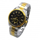 MIKE Men's Business Casual Style Steel Band Analog Quartz Wrist Watch - Golden + Silver (1 x 626)