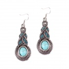 SE040 Women's Chinese Style Artificial Turquoise Earrings Eardrop - Blue + Multi-colored (Pair)