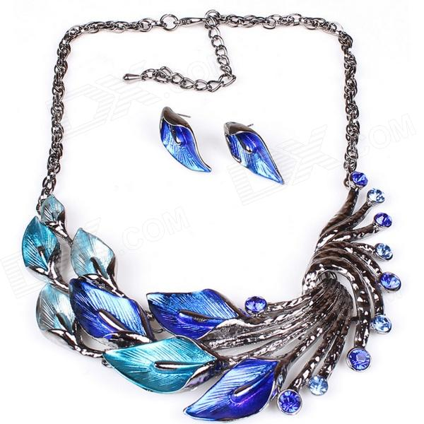 Women's Fashionable Peafowl Style Crystal Inlaid Necklace + Earrings Jewel Set - Blue + Silver fashionable women s rhinestone inlaid pendant necklace earrings set silver purple