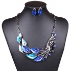 Women's Fashionable Peafowl Style Crystal Inlaid Necklace + Earrings Jewel Set - Blue + Silver