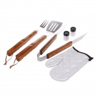 6-in-1 Stainless Steel Shovel + Tongs + Fork + Glove + BBQ + Bottle Set - Silver + Brown