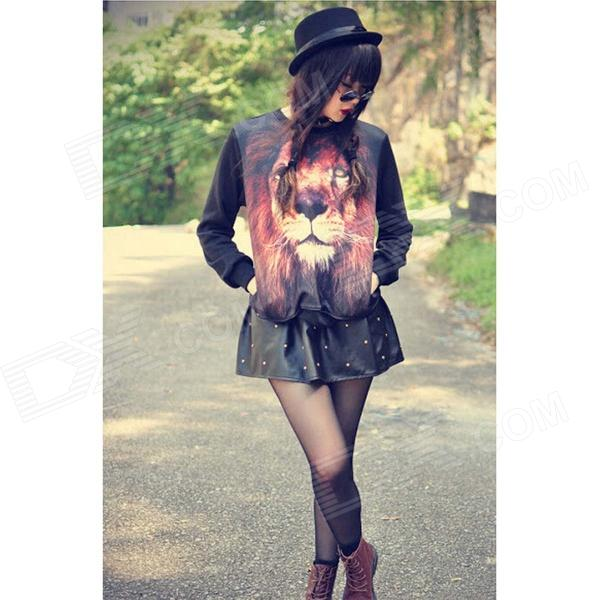 Women's 3D Lion Pattern Design Hoodie Sweater - Black + Multi-Color