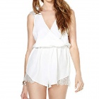 Women's Fashion Sexy Deep-V-neck Chiffon Jumpsuit Dress - White (Size M)