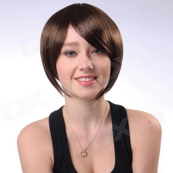 Capless Short Straight Synthetic Hair Wig - Light Brown