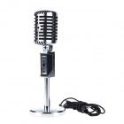 XLX001 Stylish 3.5mm Plug Wired Desktop Home KTV Microphone - Silver