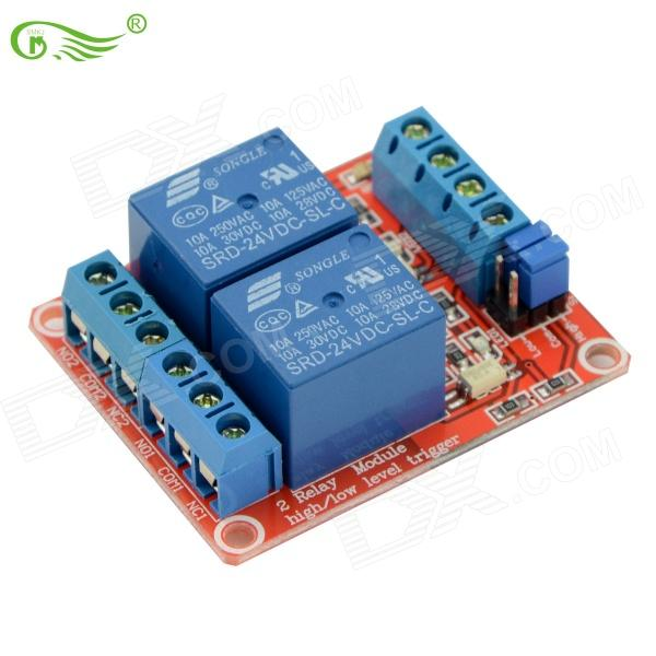 цена на FC 170604 24V Two-way High And Low Relay Module w/ Optocoupler Red Circuit Board