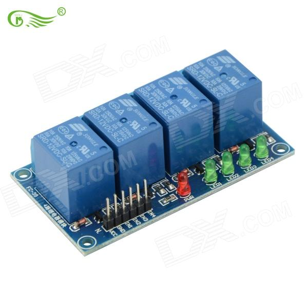 FC 170707 4-Channel 12V High Relay Module - Deep Blue high voltage dry reed relay crsthv24v normally open type with lead load pressure resistance 10kv lrl grl