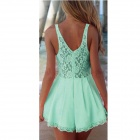 Sexy Vintage Style Sleeveless Backless Lace Jumpsuit - Green (Size L)