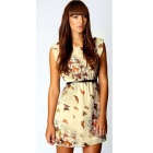 Fashion Casual Butterfly Flower Pattern Chiffon Women Summer Dress - Brown (Size M)