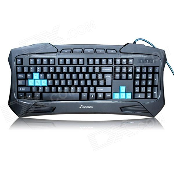 Sunsonny SK-V95 Platinum Edition Blue LED Backlit USB Wired Waterproof Keyboard - Black eset nod32 антивирус platinum edition 3 пк 2 года