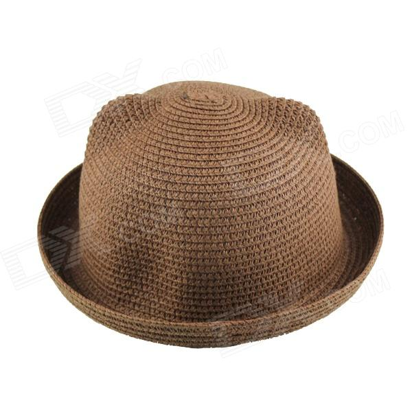 Casual Style Straw Hat - Khaki (Brown) stetson men s breakers premium shantung straw hat