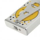 6127 Stylish Smile Face Pattern Butane Jet Lighters Shock Tricky Toy - White + Yellow + Silver