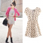 Bird Print Spring Summer Sleeveless Casual Women Mini Dress - White (Size L)