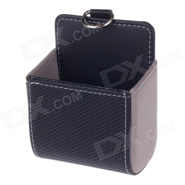 Carbon Fiber Pattern Microfiber Leather Hanging Storage Bag - Black + Grey