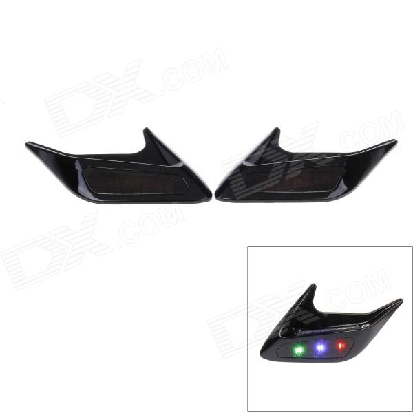 KEIZIK K-F001 0.3W 30lm 3-LED RGB Shark Gill Solar Side Vent Warning Lights - Black (Pair / 4V)