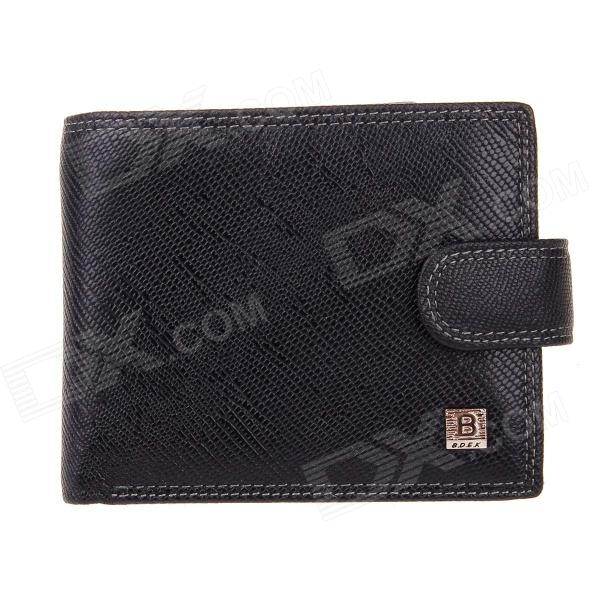 Beidi Erke B040-206 High-Grade Leather Cover Opening Style Wallet for Men - Black