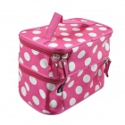 Foldable Polka Dot Double-Layer Zippered Dacron Cosmetic Bag - Deep Pink + White