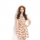 Women's Fashion Sleeveless Animal Printed Vintage Chiffon Dress - Pink (Size M)