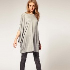Women's Fashion Loose Hatwing Style Long-Sleeved Knitted T-Shirts - Gray (L)